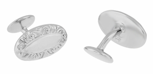 Victorian Scrolls Engravable Cufflinks in Sterling Silver - Click to enlarge