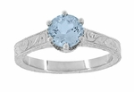 Art Deco Crown Filigree Scrolls Sky Blue Topaz Engagement Ring in Sterling Silver