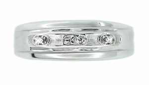 Men's Retro Moderne Wedding Ring Set<br>with Diamonds in 14 Karat Gold - Click to enlarge
