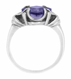 Victorian Emerald Cut Iolite Ring in 14 Karat White Gold - Item R327W - Image 1