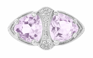 Art Deco Rose de France Amethyst Loving Duo Filigree Ring in 14 Karat White Gold - Click to enlarge