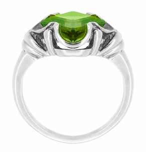 Victorian Square Emerald Cut Peridot Ring in 14 Karat White Gold - Click to enlarge