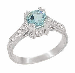 Art Deco 3/4 Carat Aquamarine March Birthstone Castle Engagement Ring in 18 Karat White Gold | Vintage Inspired Aquamarine Engagement Ring - Item R663A - Image 1