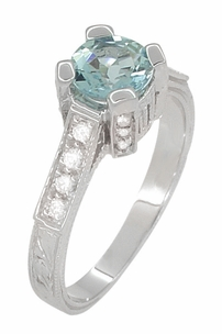 Art Deco 3/4 Carat Aquamarine March Birthstone Castle Engagement Ring in 18 Karat White Gold | Vintage Inspired Aquamarine Engagement Ring - Item R663A - Image 2