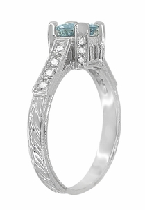 Art Deco 3/4 Carat Aquamarine March Birthstone Castle Engagement Ring in 18 Karat White Gold | Vintage Inspired Aquamarine Engagement Ring - Item R663A - Image 3