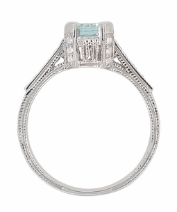 Art Deco 3/4 Carat Aquamarine March Birthstone Castle Engagement Ring in 18 Karat White Gold | Vintage Inspired Aquamarine Engagement Ring - Item R663A - Image 4