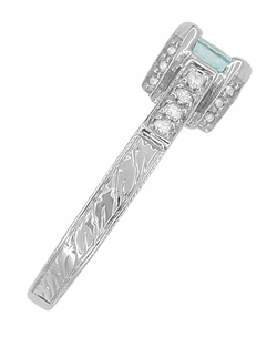 Art Deco 3/4 Carat Aquamarine March Birthstone Castle Engagement Ring in 18 Karat White Gold - Click to enlarge