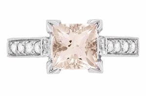 Art Deco 1 Carat Princess Cut Morganite and Diamond Engagement Ring in Platinum - Item R495M - Image 3