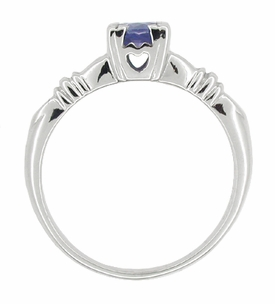 Art Deco Hearts and Clovers Sapphire Engagement Ring in Platinum, Simple Vintage Solitaire Sapphire Engagement Ring - Item R400 - Image 1