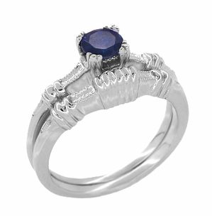 Art Deco Hearts and Clovers Sapphire Engagement Ring in Platinum, Simple Vintage Solitaire Sapphire Engagement Ring - Click to enlarge