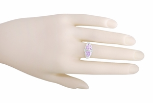 Art Deco Rose de France Amethyst Loving Duo Filigree Ring in 14 Karat White Gold - Item R1129WRF - Image 3