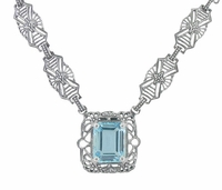 Art Deco Filigree Blue Topaz Drop Pendant Necklace in Sterling Silver
