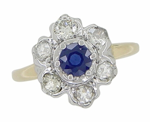 Mid Century Antique Floral Diamond and Blue Sapphire Ring in 14 Karat White and Yellow Gold - Click to enlarge