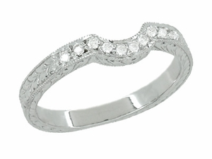 Royal Crown Curved Diamond Engraved Wedding Band in 18 Karat White Gold - Item WR460WD - Image 1