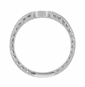 Royal Crown Curved Diamond Engraved Wedding Band in 18 Karat White Gold - Item WR460WD - Image 5