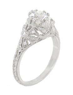 Edwardian Antique Style 1 Carat Diamond Filigree Engagement Ring in 18 Karat White Gold - Item R6791D - Image 1