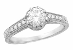 Royal Crown 1/2 Carat Antique Style Engraved Engagement Ring in 18 Karat White Gold