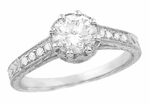 Royal Crown 3/4 Carat Antique Style Engraved Engagement Ring in 18 Karat White Gold