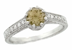 Royal Crown 1 Carat Cognac Diamond Antique Style Engraved Engagement Ring in 18 Karat White Gold