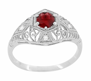 Edwardian Ruby and Diamonds Scroll Dome Filigree Engagement Ring in 14 Karat White Gold - Click to enlarge
