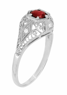 Edwardian Ruby and Diamonds Scroll Dome Filigree Engagement Ring in 14 Karat White Gold - Item R471 - Image 2