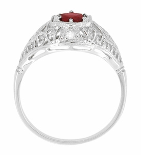 Edwardian Ruby and Diamonds Scroll Dome Filigree Engagement Ring in 14 Karat White Gold - Item R471 - Image 3