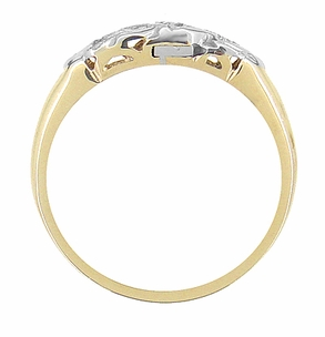 Mid Century Antique Diamond Wedding Band in 14 Karat White and Yellow Gold - Click to enlarge