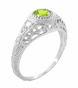 Art Deco Engraved Peridot and Diamond Filigree Ring in 14 Karat White Gold - Item R138PER - Image 1