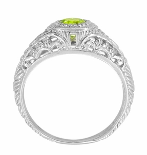 Art Deco Engraved Peridot and Diamond Filigree Ring in 14 Karat White Gold - Click to enlarge