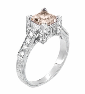 Art Deco 1 Carat Princess Cut Morganite and Diamond Engagement Ring in 18 Karat White Gold - Click to enlarge