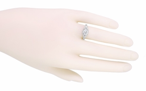 Edwardian Antique Style 1 Carat Diamond Filigree Engagement Ring in 18 Karat White Gold - Click to enlarge