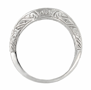 Art Deco Curved Engraved Scrolls Wedding Ring in 18 Karat White Gold - Item R1137W - Image 2