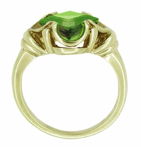 Victorian Square Emerald Cut Peridot Ring in 14 Karat Yellow Gold - Click to enlarge