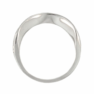 Art Deco Curved Engraved Scrolls Wedding Ring in 18 Karat White Gold - Click to enlarge