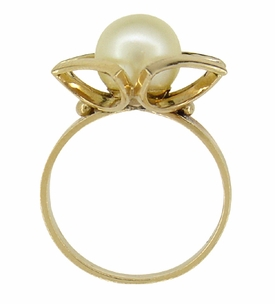 Mid Century Vintage Buttercup Frame Pearl Solitaire Ring in 18 Karat Yellow Gold - Click to enlarge