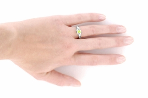 Art Deco Engraved Peridot and Diamond Filigree Engagement Ring in Platinum - Click to enlarge