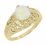 Edwardian Filigree Opal Ring in 14 Karat Yellow Gold