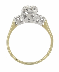 Art Deco Vintage Diamond Engagement Ring in 14 Karat White and Yellow Gold - Item R743 - Image 3