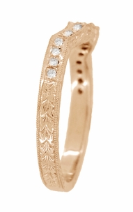 Art Deco Antique Style Loving Hearts Contoured Engraved Wheat Diamond Wedding Ring in 14 Karat Rose ( Pink ) Gold - Item WR459R - Image 3