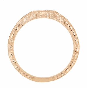 Art Deco Antique Style Loving Hearts Contoured Engraved Wheat Diamond Wedding Ring in 14 Karat Rose ( Pink ) Gold - Click to enlarge