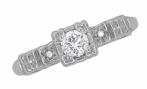 Art Deco Diamond Engagement Ring in 14 Karat White Gold - Item R386D - Image 2