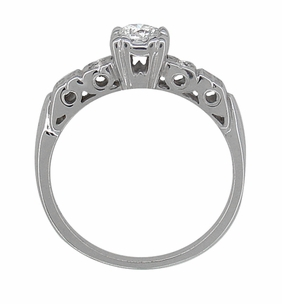 Art Deco Diamond Engagement Ring in 14 Karat White Gold - Item R386D - Image 3