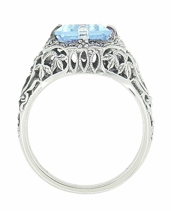 Art Deco Blue Topaz Filigree Ring in Sterling Silver - Item SSR16BT - Image 1