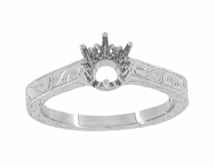Palladium Filigree Scrolls Engraved Art Deco 1/4 Carat Crown Engagement Ring Mounting | 4mm - 5mm  - Item R199PDM25 - Image 2
