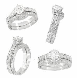 Palladium Filigree Scrolls Engraved Art Deco 1/4 Carat Crown Engagement Ring Mounting | 4mm - 5mm  - Item R199PDM25 - Image 4