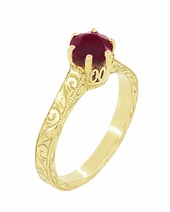 Art Deco Crown Filigree Scrolls Ruby Engagement Ring in 18 Karat Yellow Gold - Click to enlarge