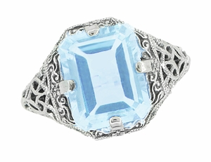 Art Deco Blue Topaz Filigree Ring in Sterling Silver - Item SSR16BT - Image 2