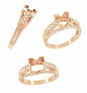 X & O Kisses 1 Carat Princess Cut Diamond Engagement Ring Setting in 14 Karat Rose ( Pink ) Gold - Click to enlarge