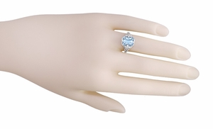 Art Deco Blue Topaz Filigree Ring in Sterling Silver - Click to enlarge