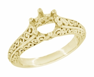 Filigree Flowing  Scrolls Engagement Ring Setting for a 3/4 Carat Diamond in 14 Karat Yellow Gold - Item R1196Y - Image 1